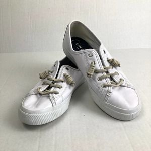 Sperry White Leather Pull On Sneaker Size 6.5